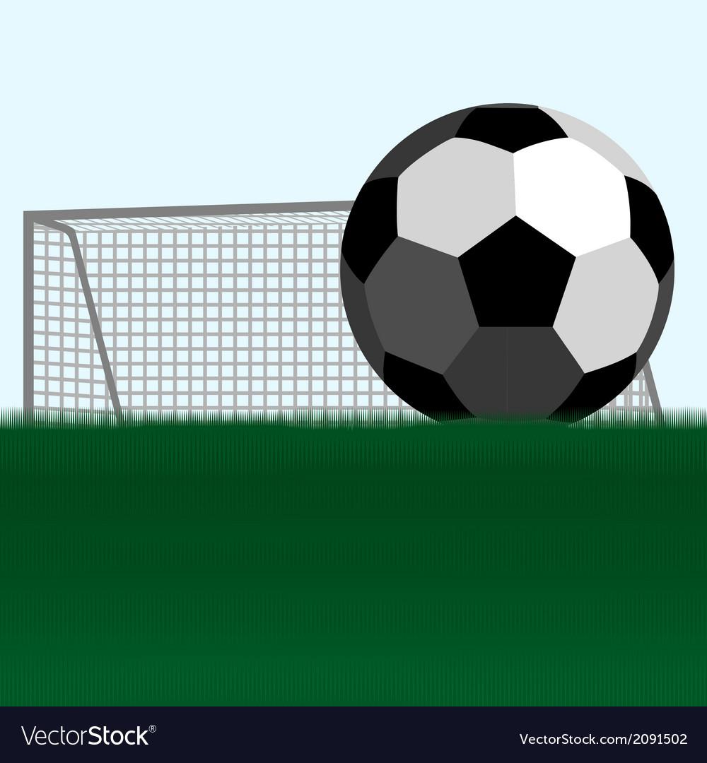 Soccer ball and football goals vector image