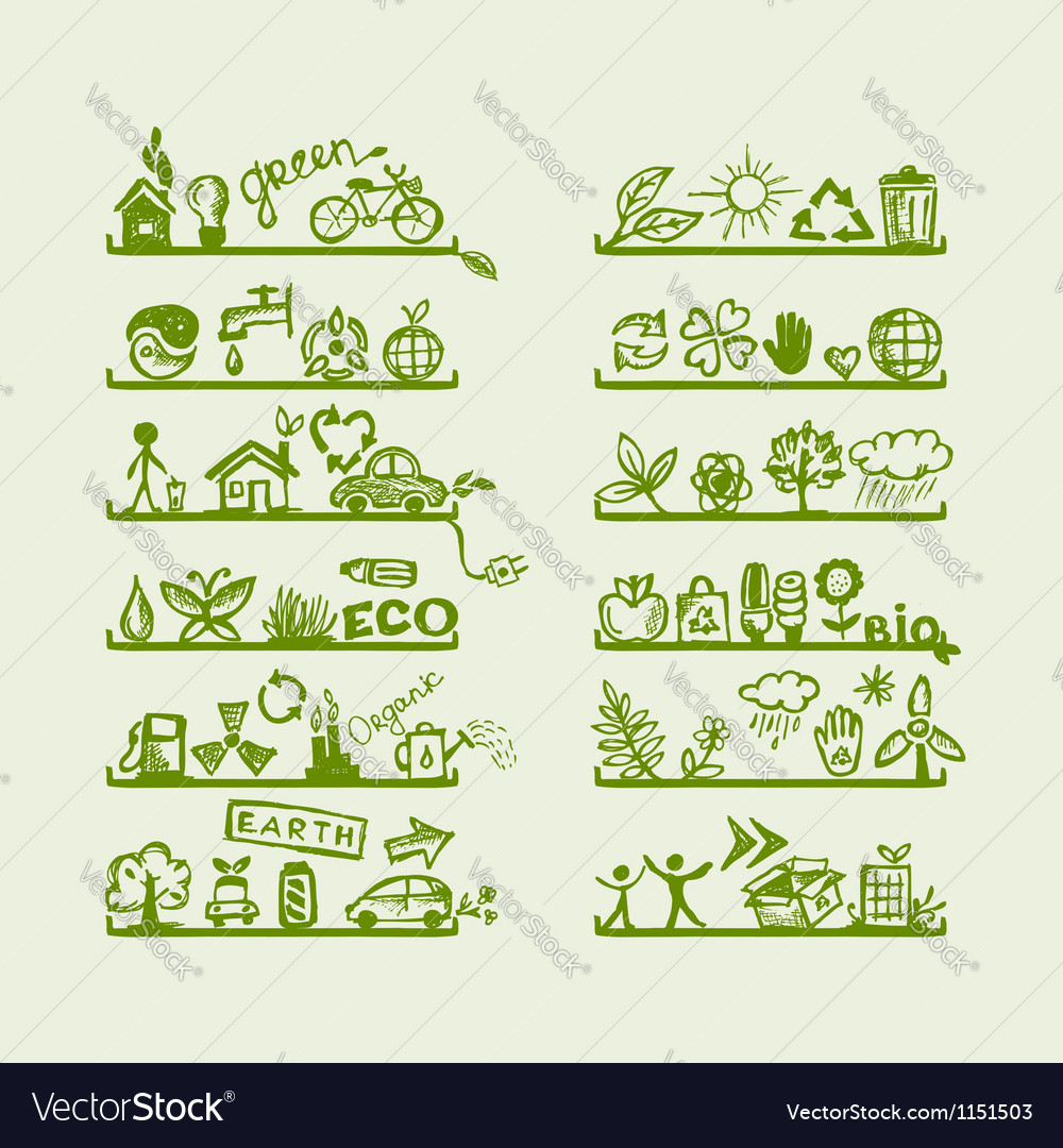 Shelves with ecology icons for yuor design vector image