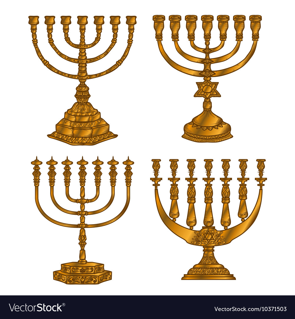 Jewish religious symbol menorah isolated on white vector image biocorpaavc Image collections