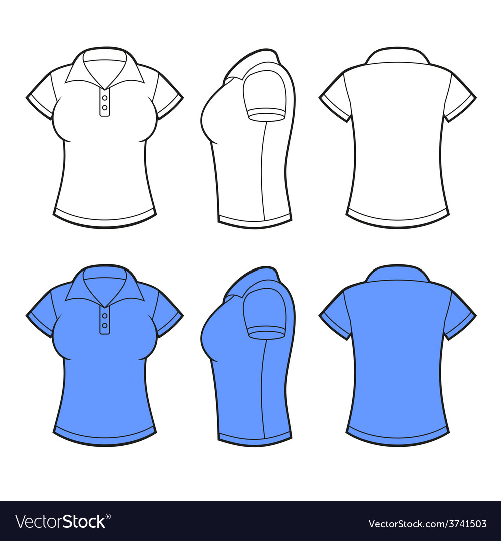 women polo shirt template front back and side vector image