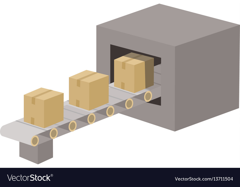 Cartoon conveyor belt vector image
