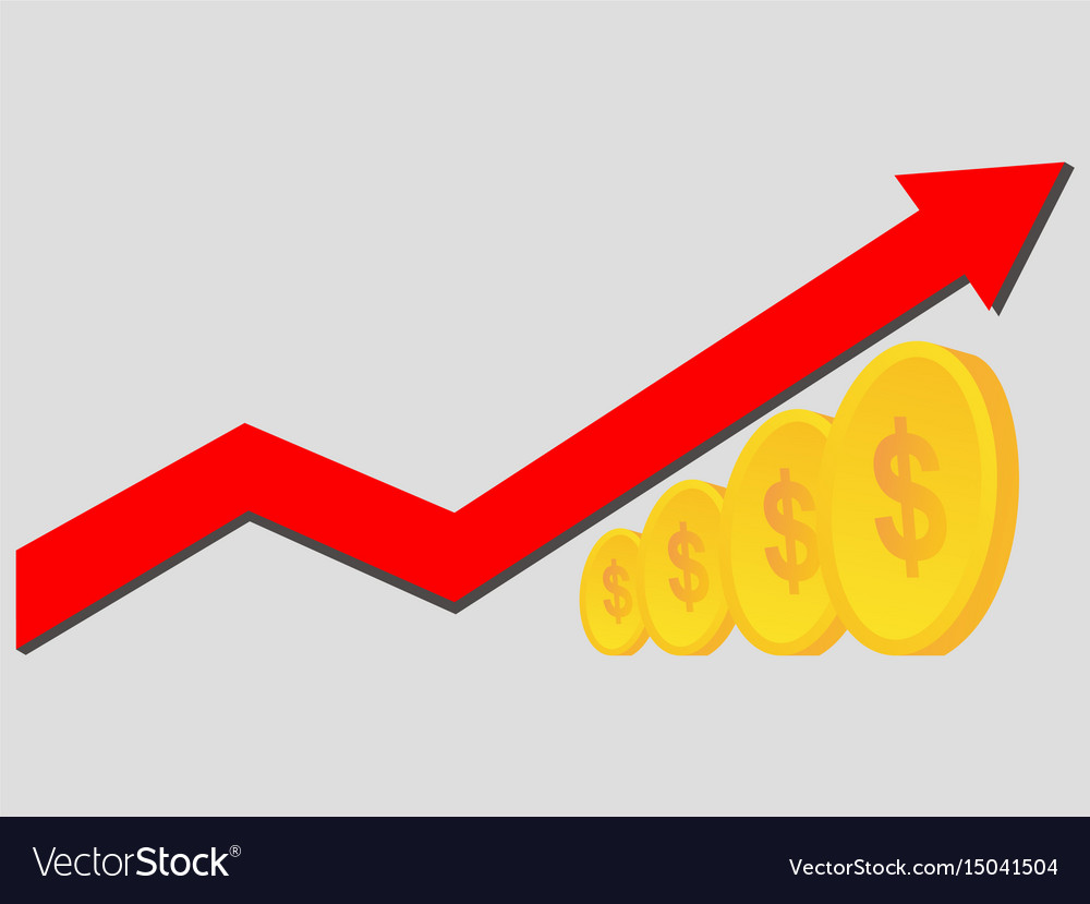 Financial success concept coins with success red vector image