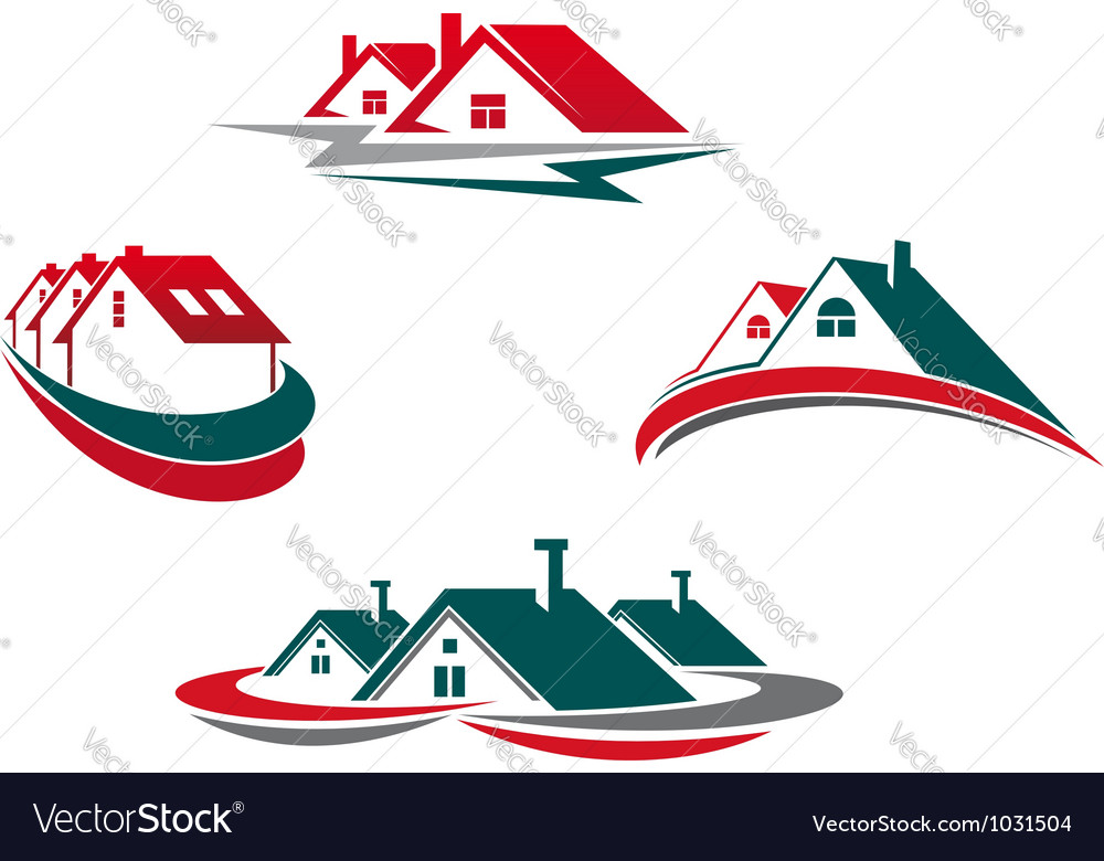 Houses and homes set for real estate business vector image
