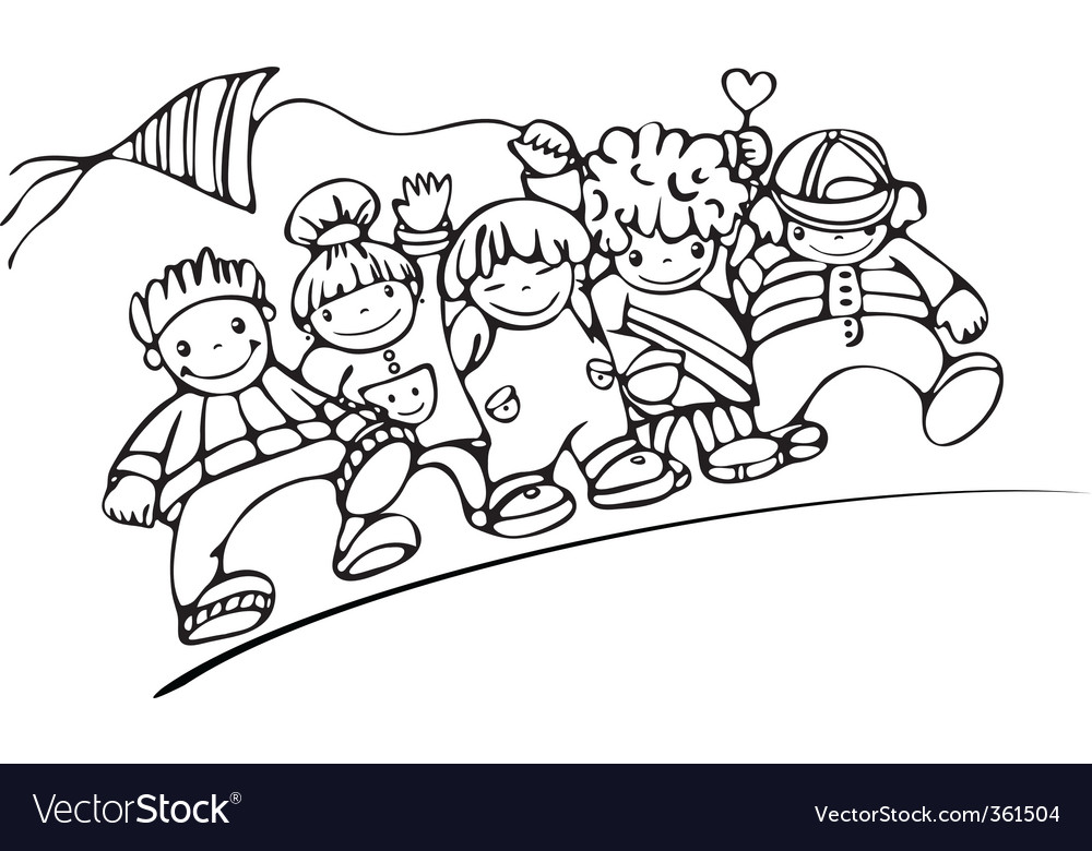 Silhouette of happy kids vector image