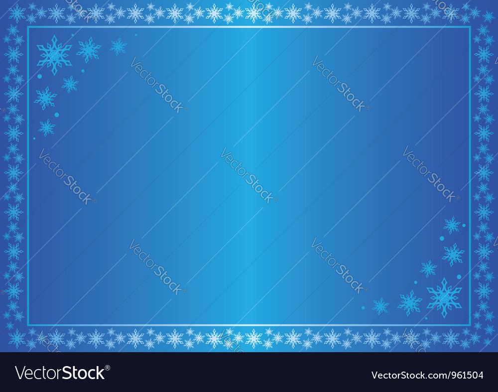 Winter blue frame with snowflakes vector image