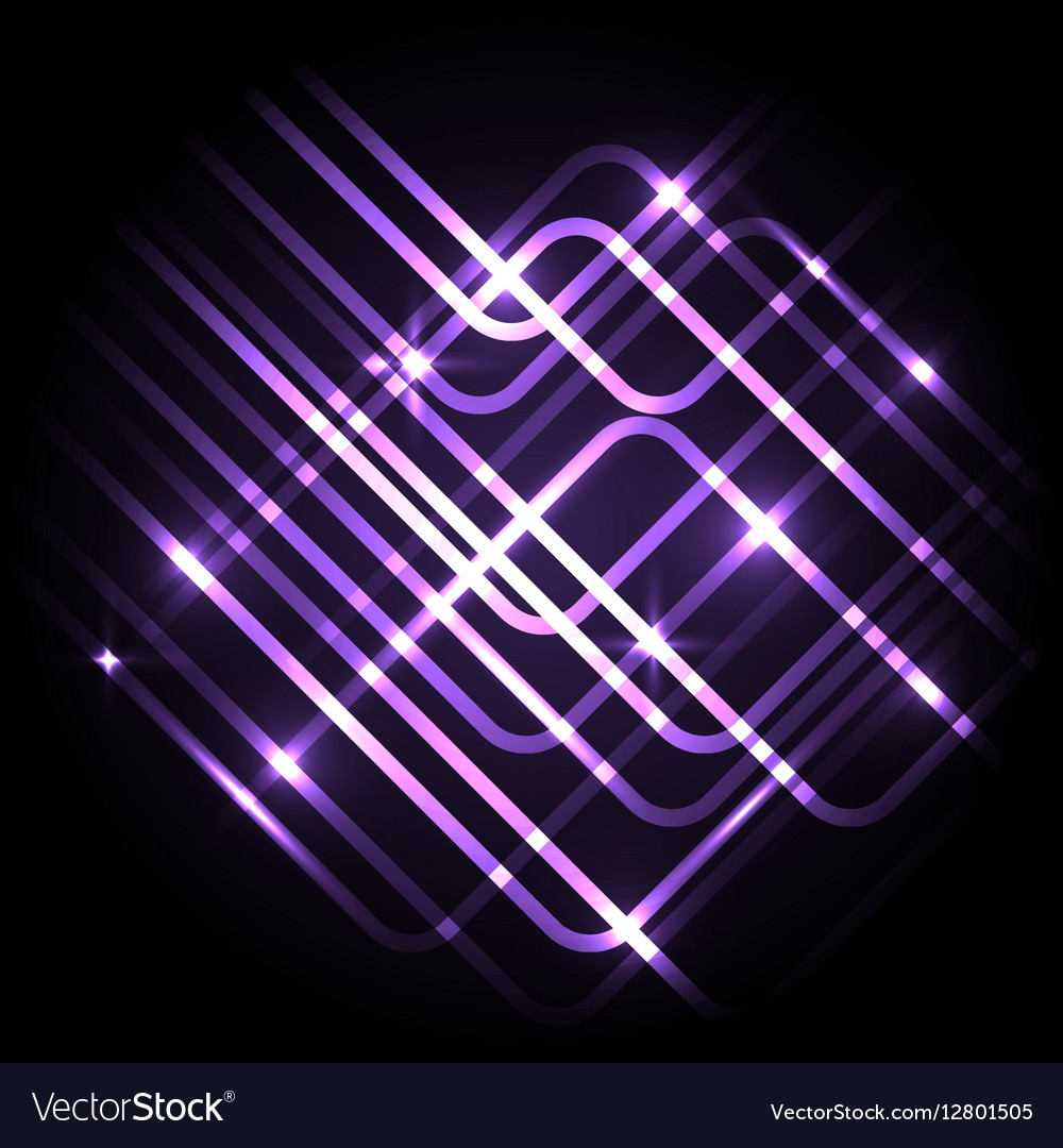 Abstract neon purple background with lines vector image