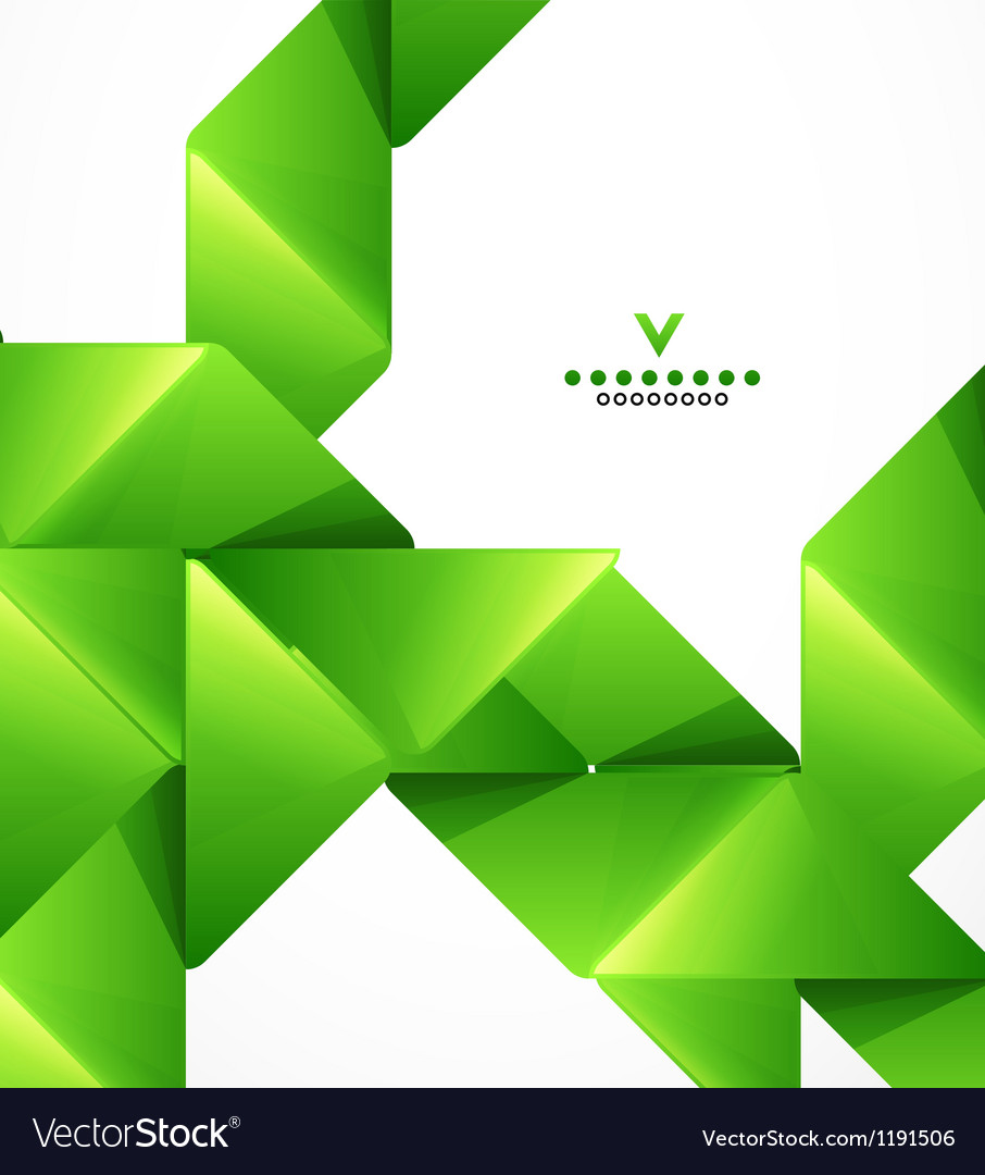 Green paper stripes modern template vector image