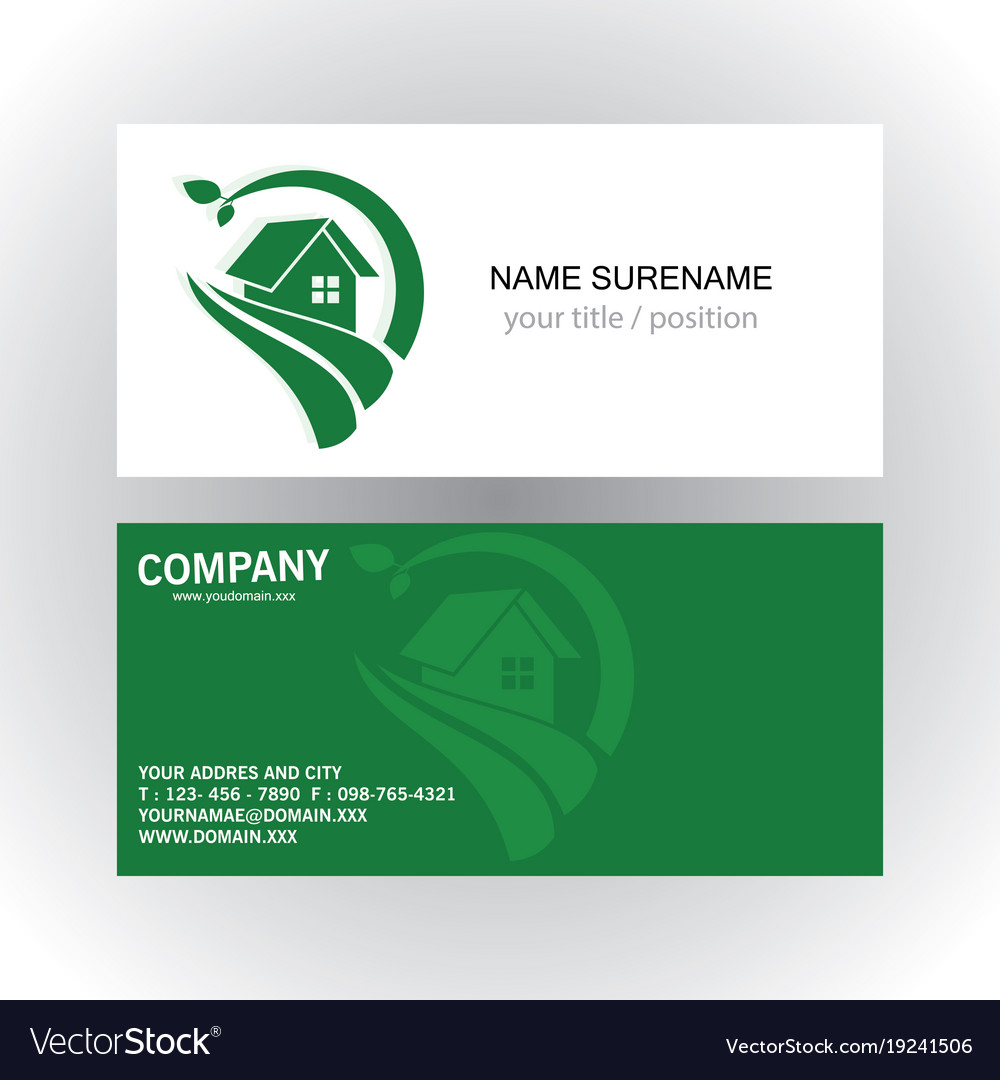 Home green nature logo business card Royalty Free Vector