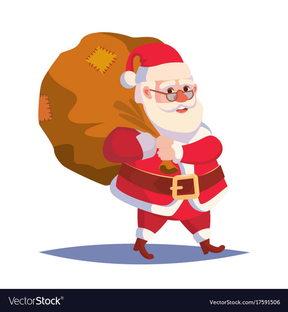 santa claus carrying big sack with gifts vector image - Santa Claus Gifts