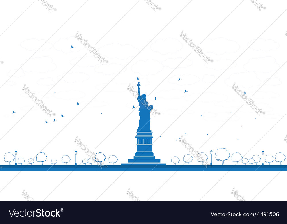 Statue of liberty blue sky outline vector image