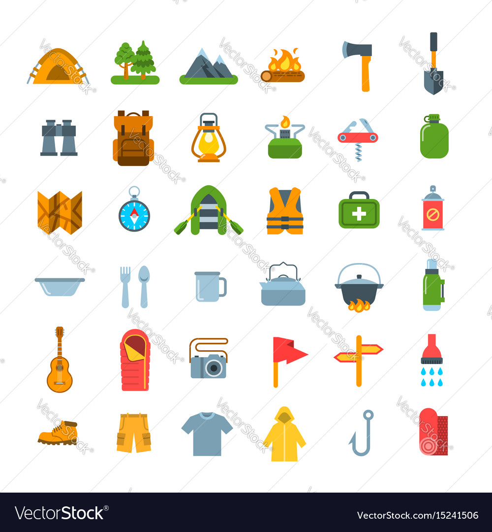 Summer tourism camping flat icons vector image