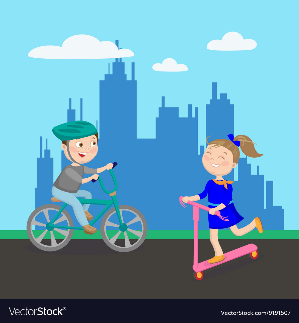 Happy Girl on Scooter Boy Riding Bicycle Kids vector image