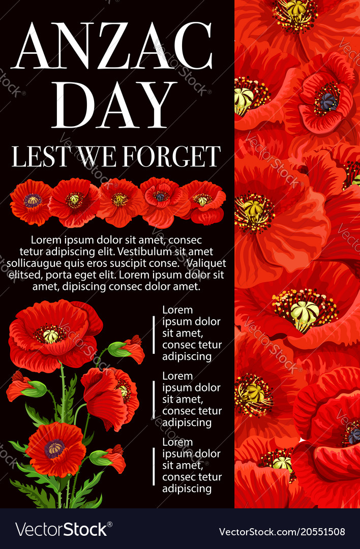 Anzac day poppy flower for lest we forget banner vector image mightylinksfo Gallery