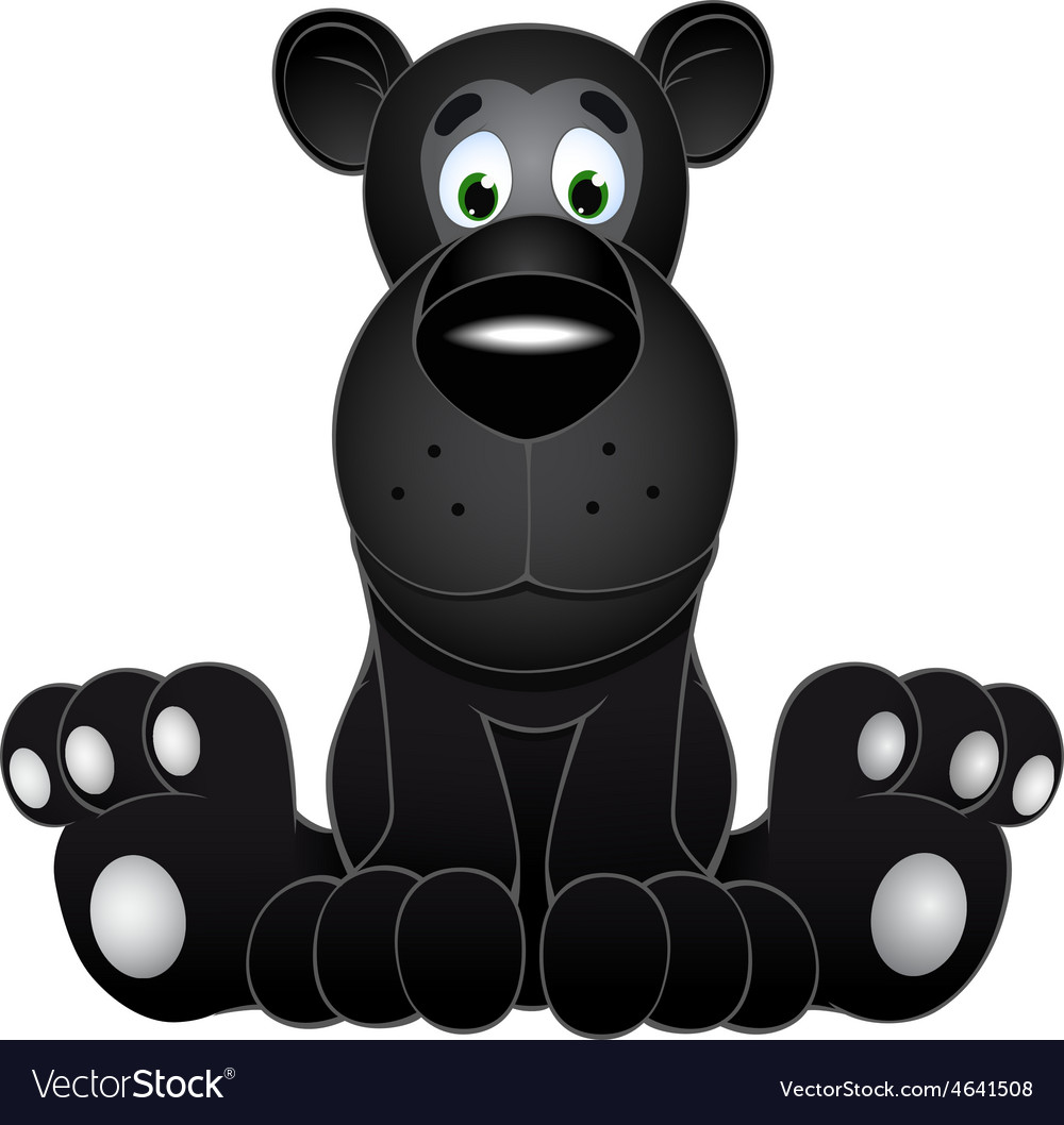 Cute black panther cub vector image