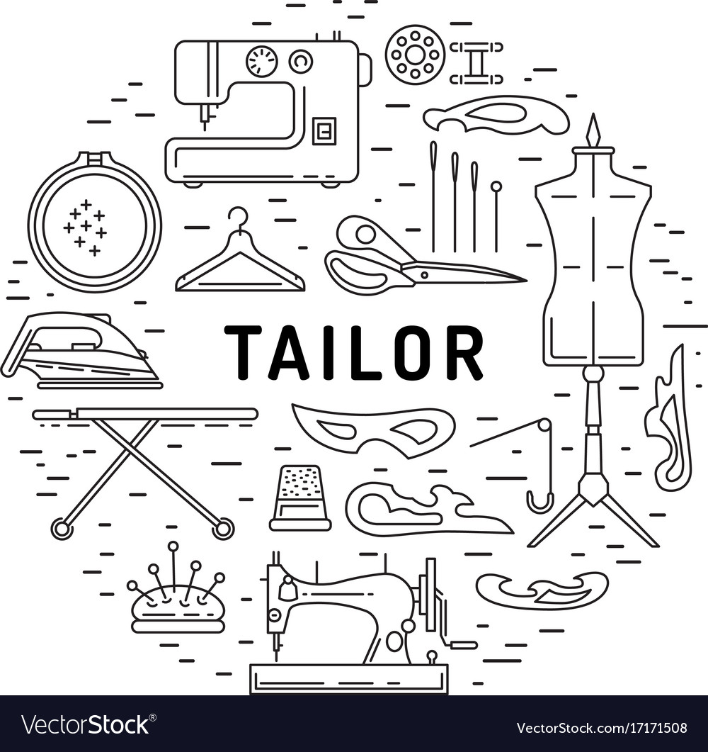 Sewing icons outline banner vector image
