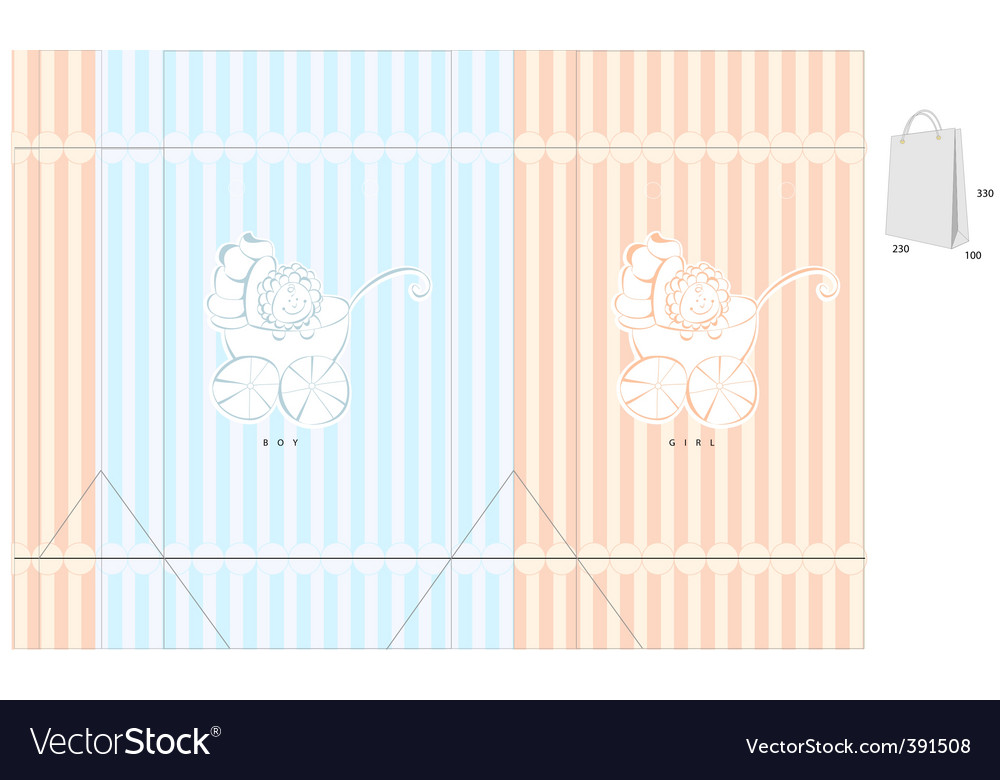 Template for bag with baby vector image