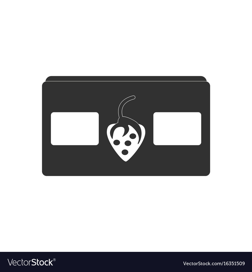 Black icon on white background videocassette and