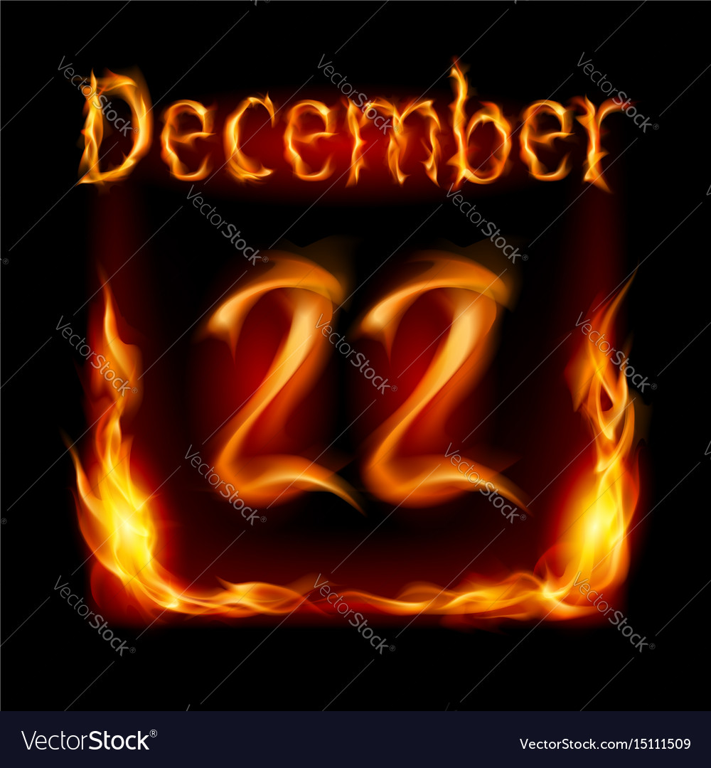 Twenty-second december in calendar of fire icon vector image