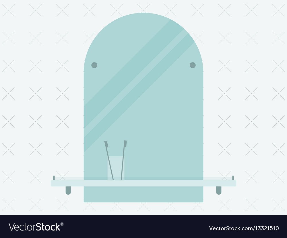 Bathroom mirror with a toothbrush in a flat vector image