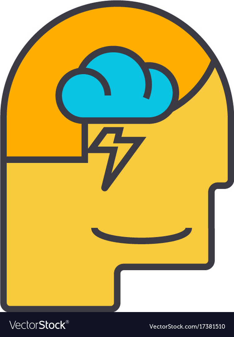 Mind process male head flat line vector image