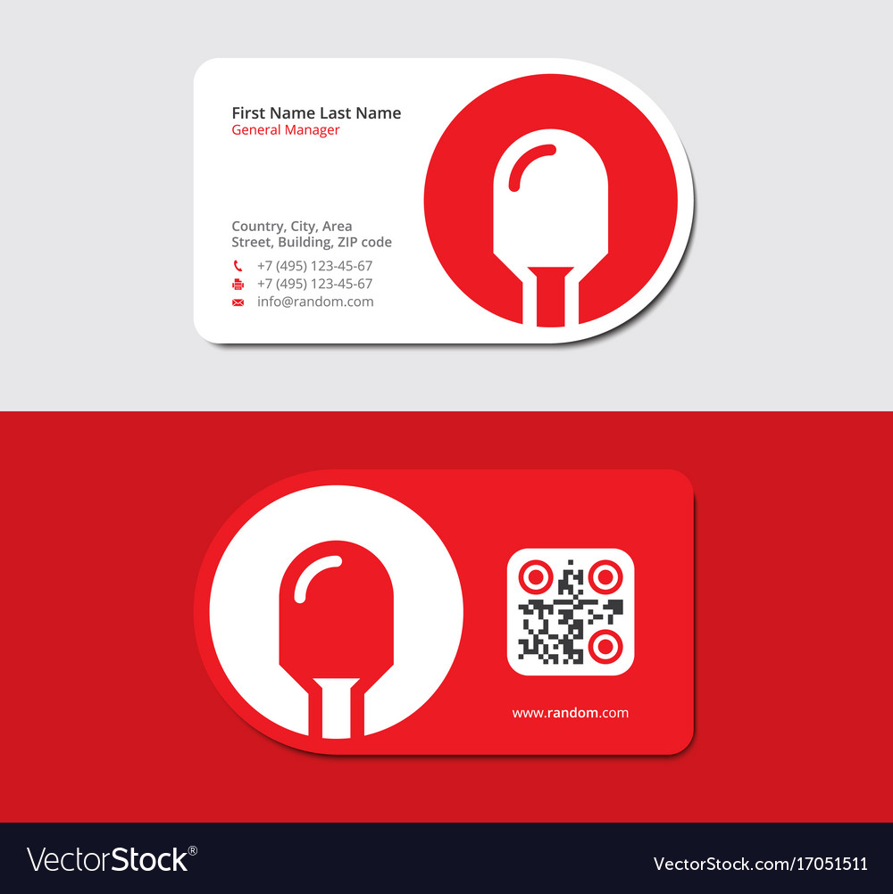 Red business card with led icon and qr code Vector Image