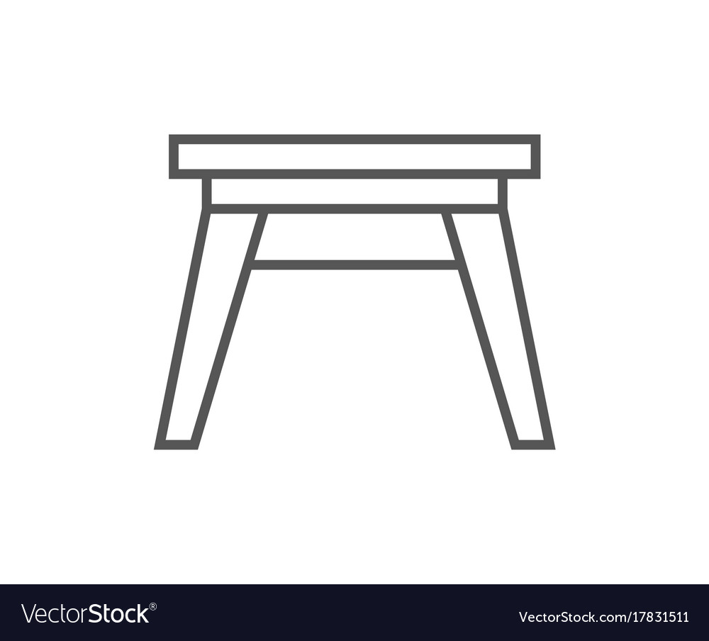 Wooden stool isolated icon in linear style vector image