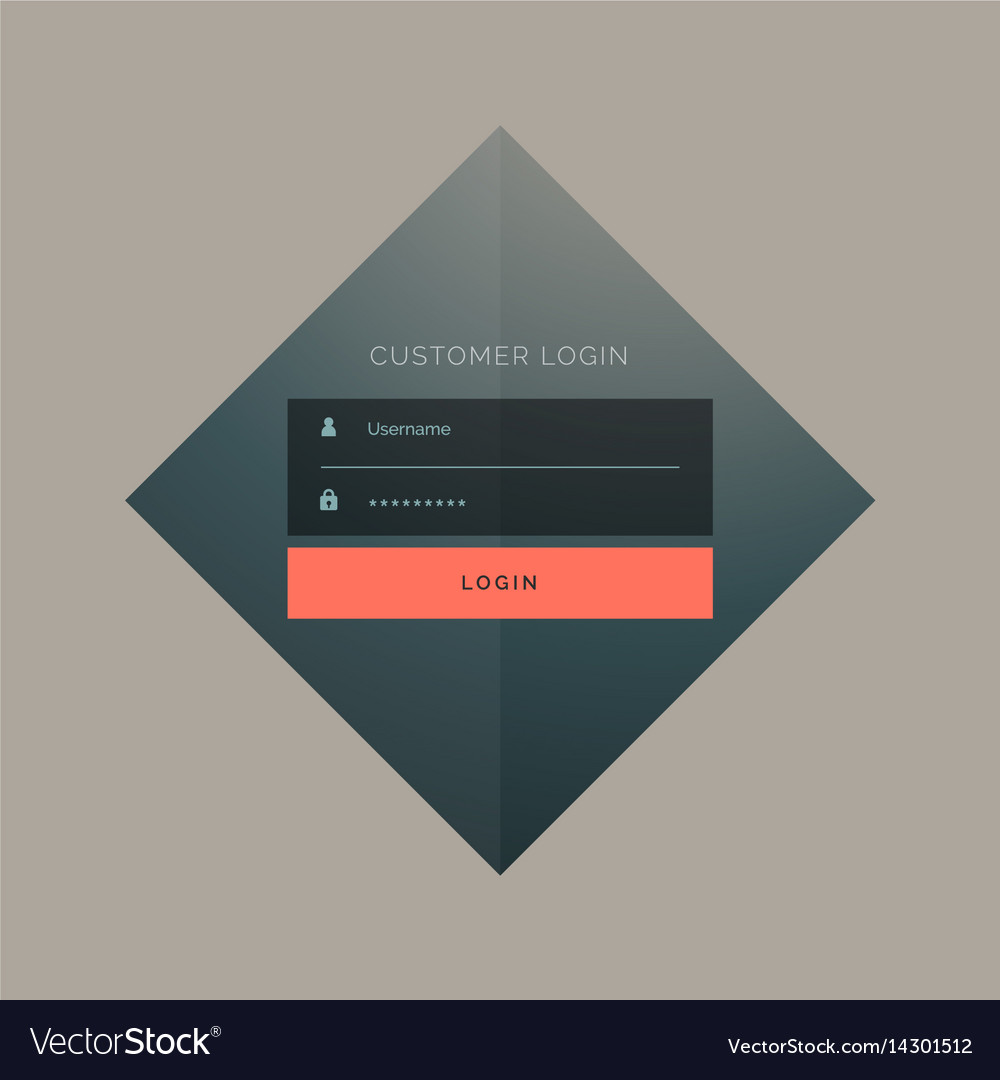Customer login form design with username and vector image