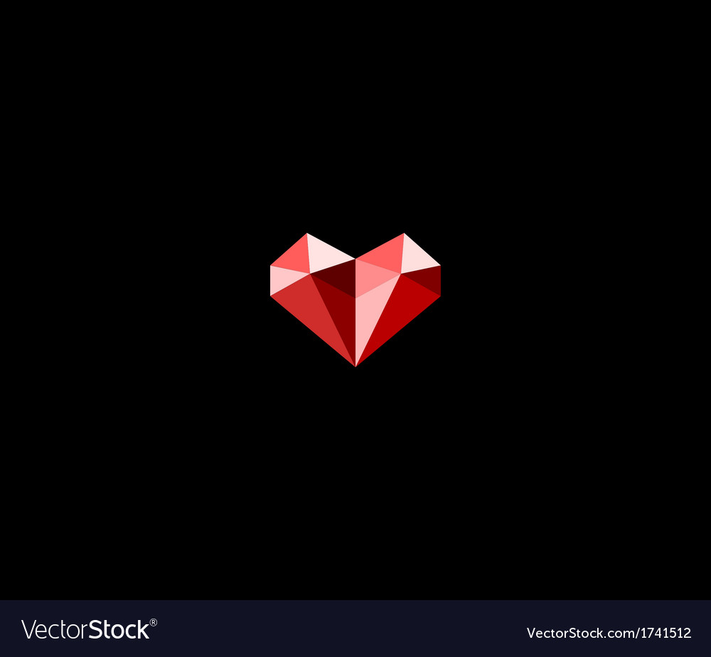 Diamond heart symbol vector image