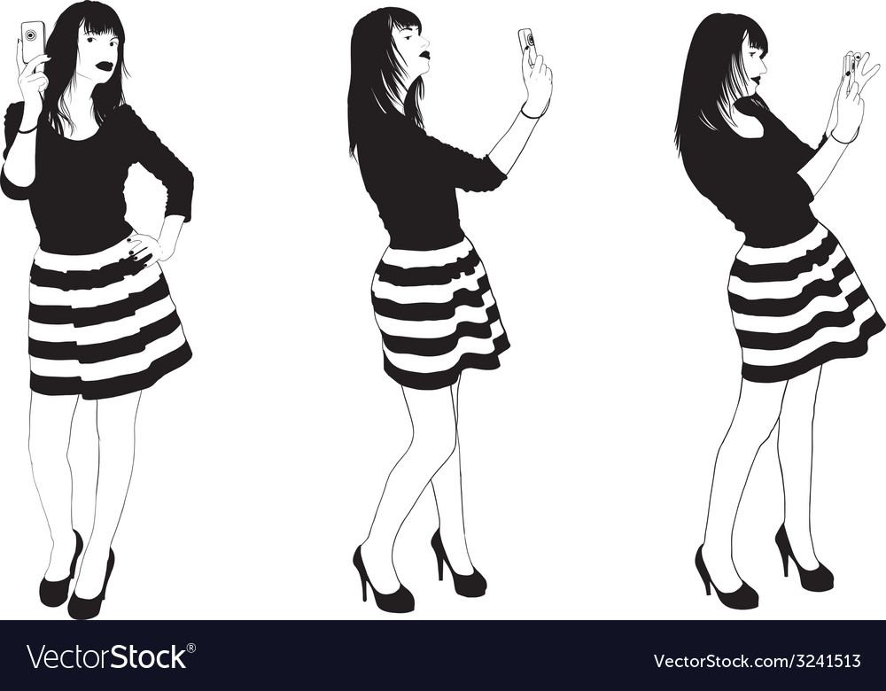 Girl Make Selfie vector image