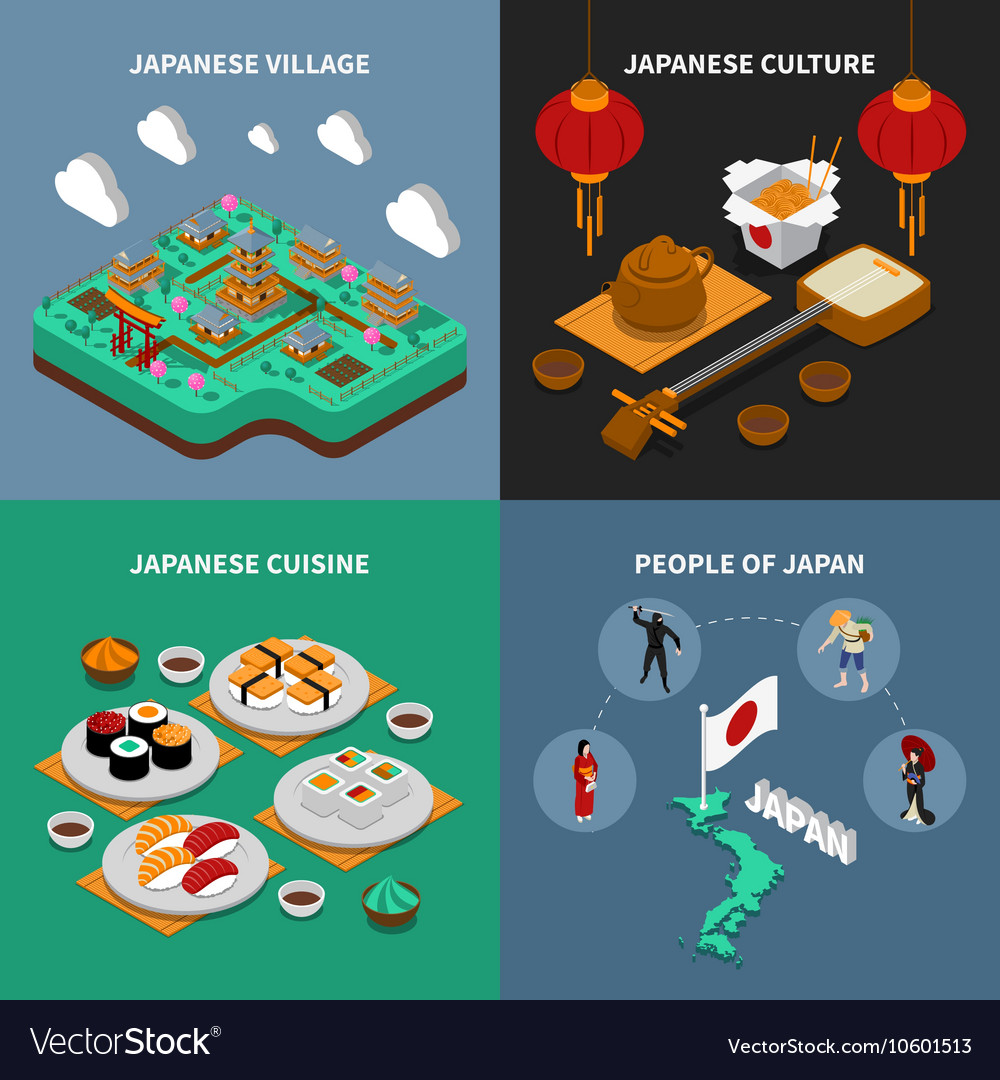 Japan Touristic Isometric 2x2 Icons Set vector image