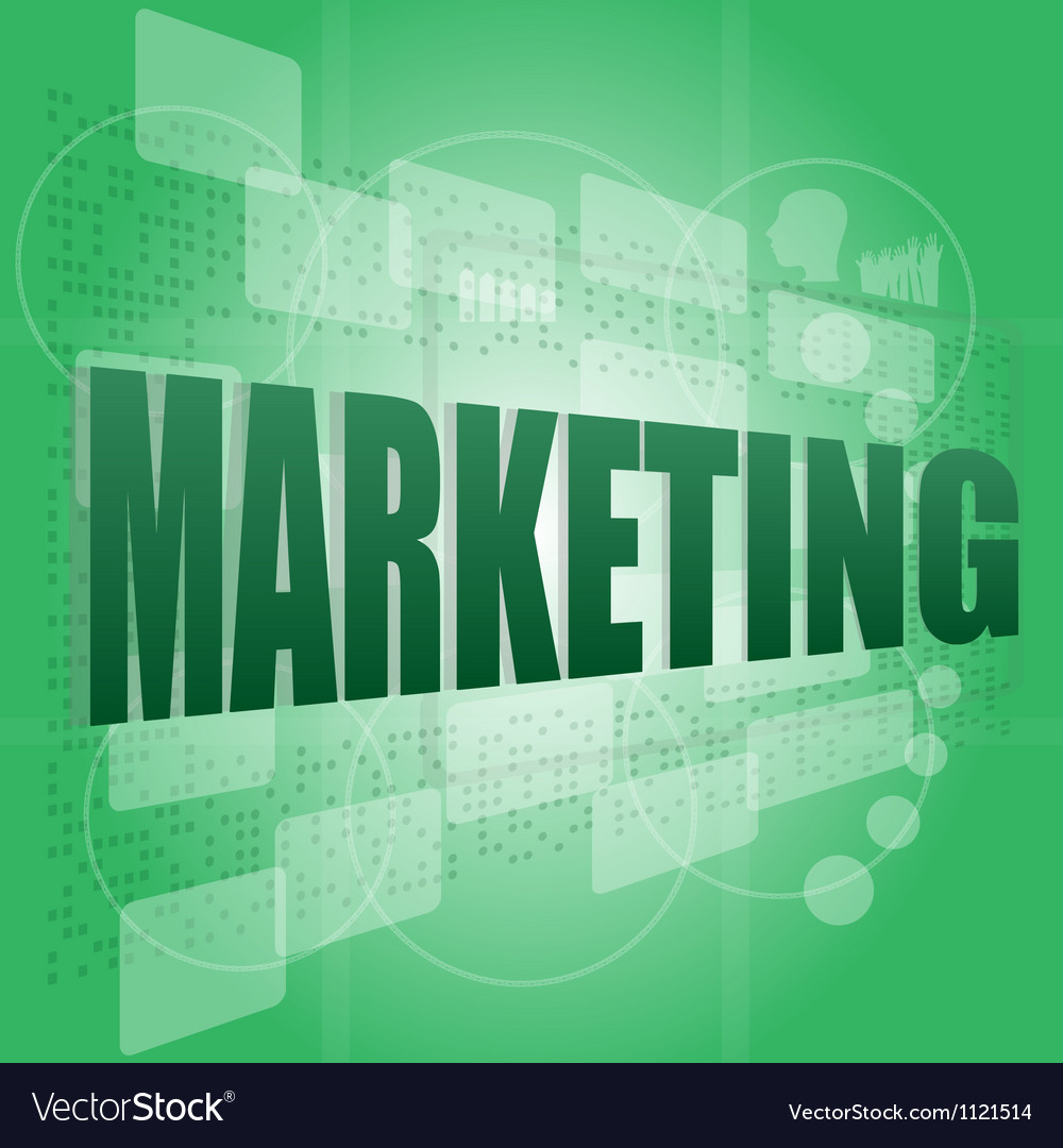 Words email marketing on digital screen - vector image