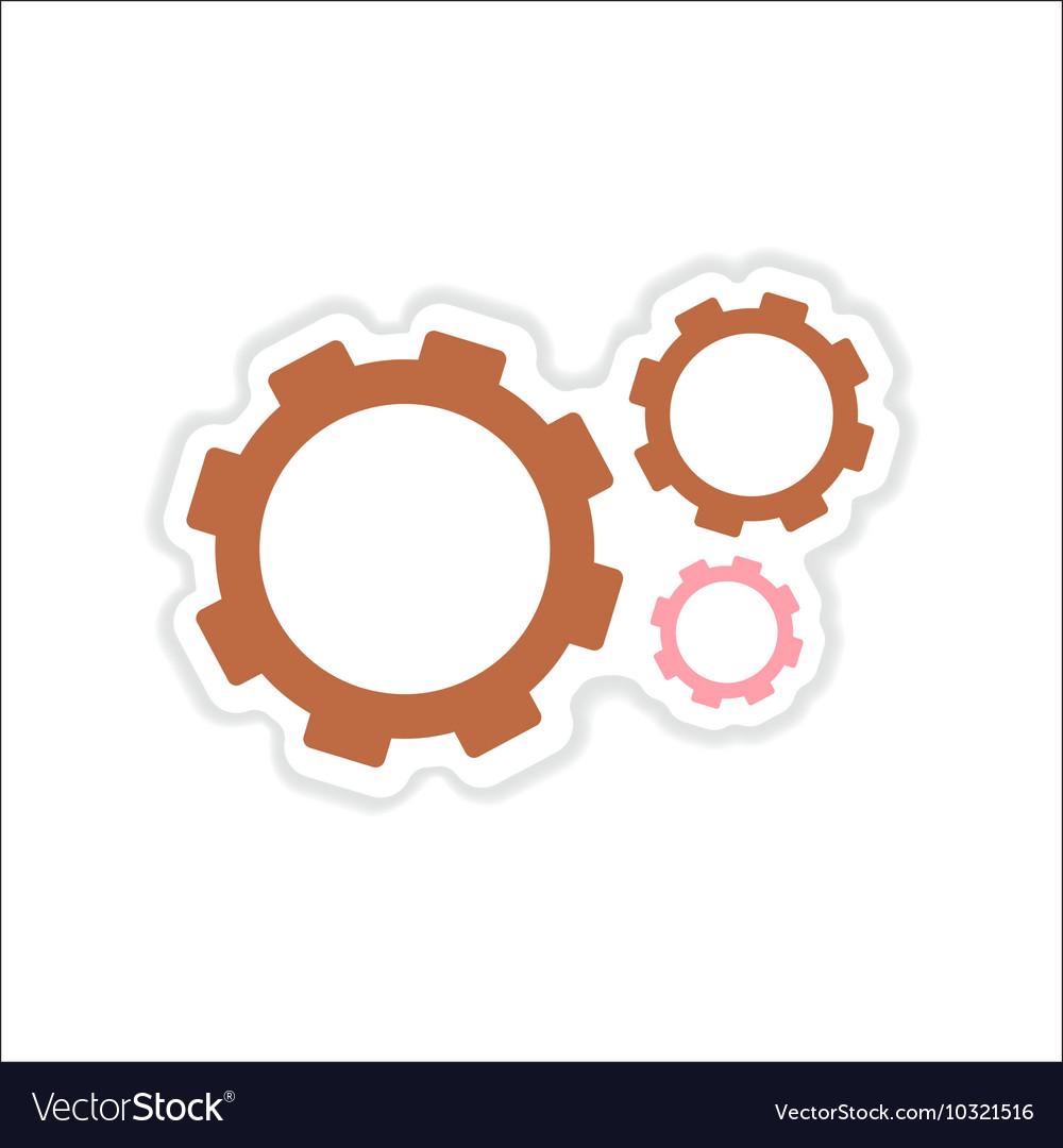 Paper sticker on white background gears teamwork