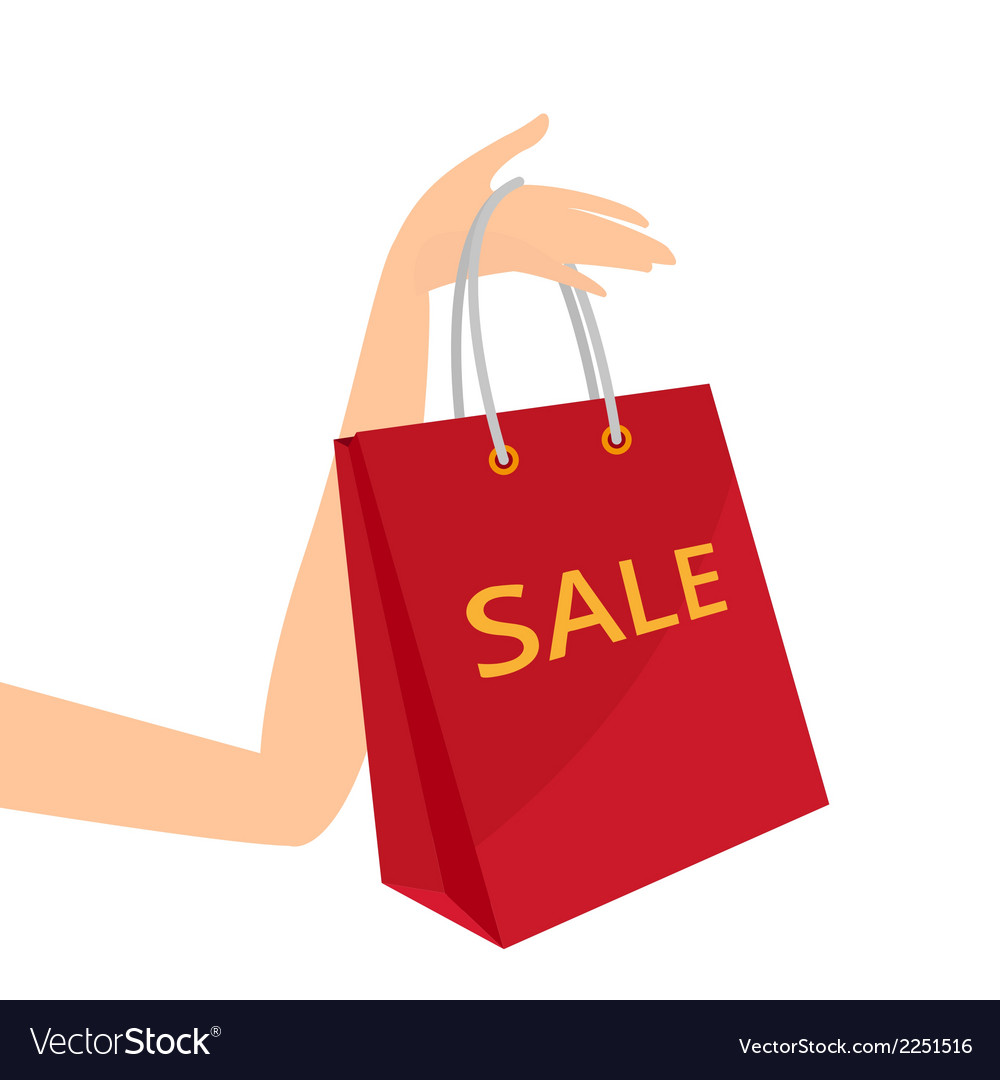 Red shopping bag in womens hand vector image
