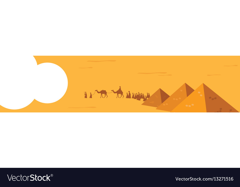 Web banner group of people with camels caravan vector image