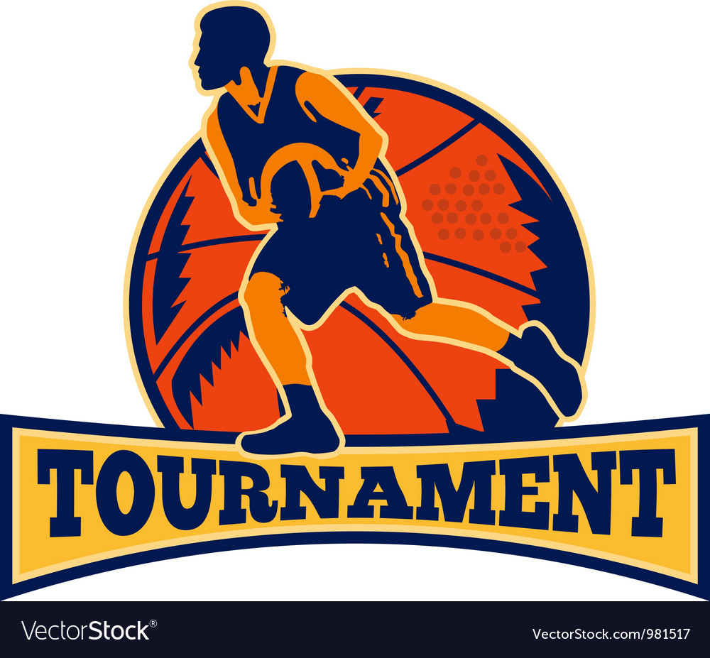 Basketball Player Dribbling Ball Retro vector image