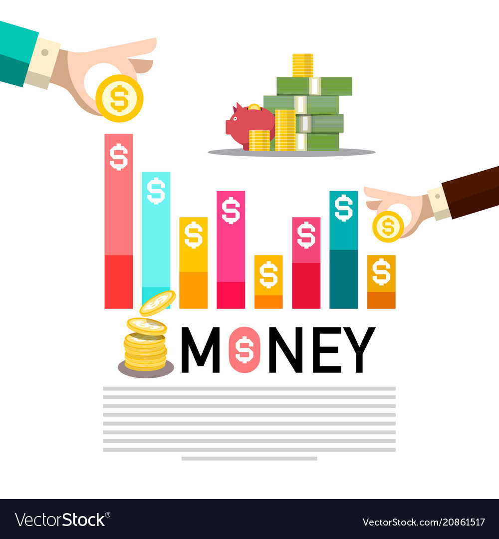Money concept with graph business infographic vector image