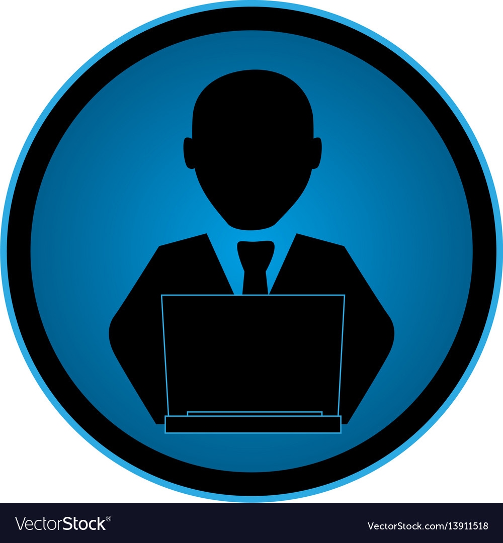 Color circular emblem with man with laptop vector image