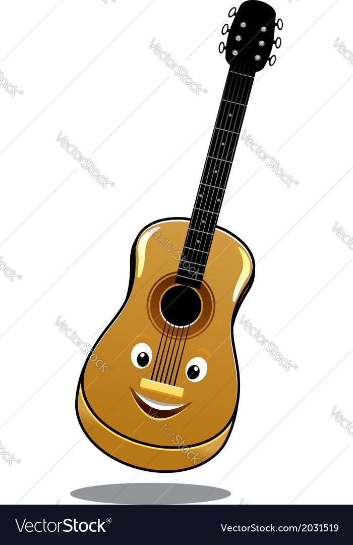 Cartoon wooden country guitar vector image