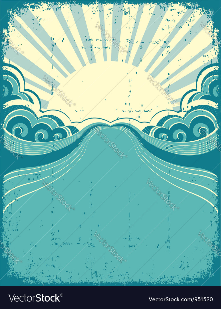 Grunge nature poster background with sun Vector Image