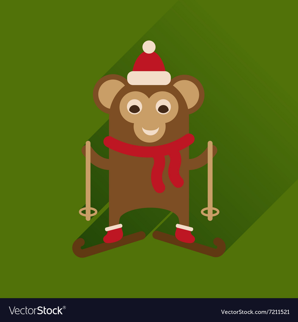 Flat Design Monkey Circle Icon