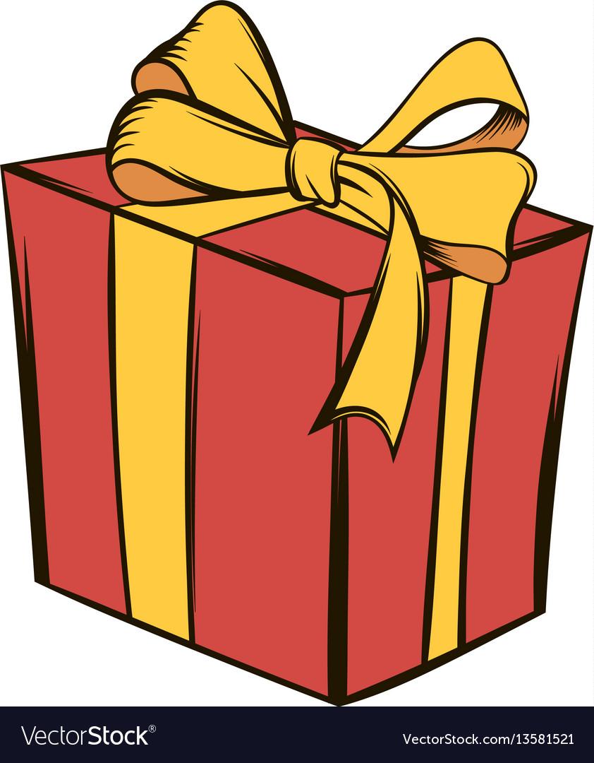 Gift box icon cartoon royalty free vector image