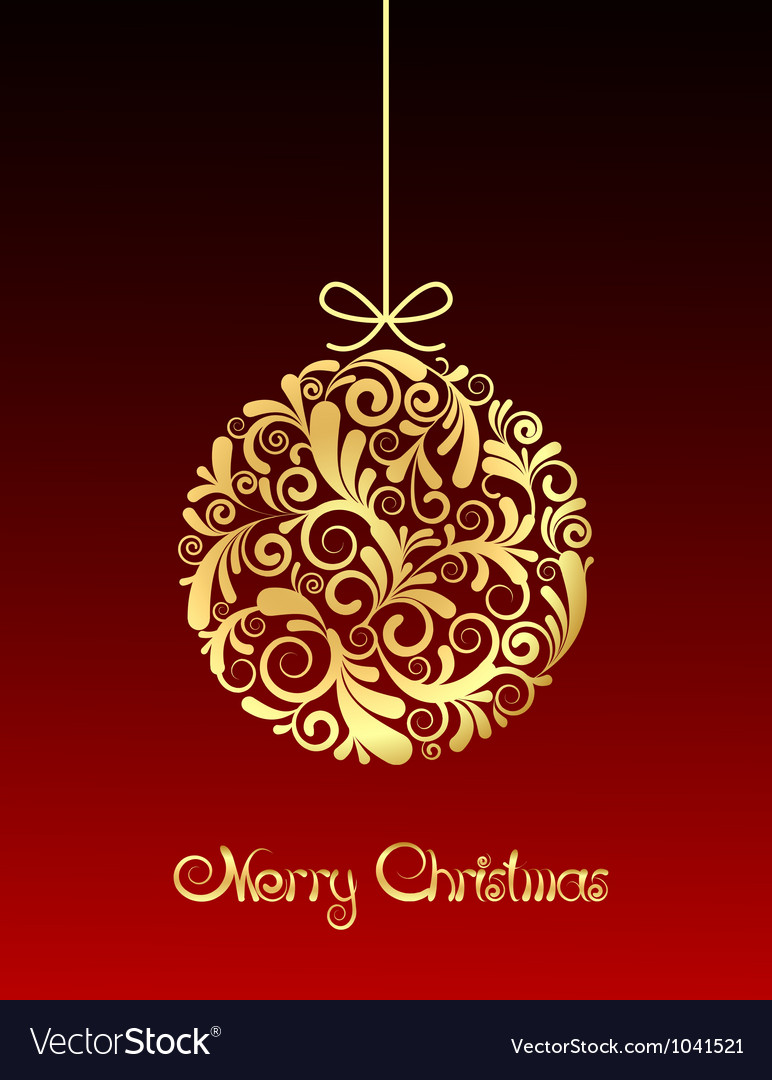 Gold Christmas ball on red background vector image