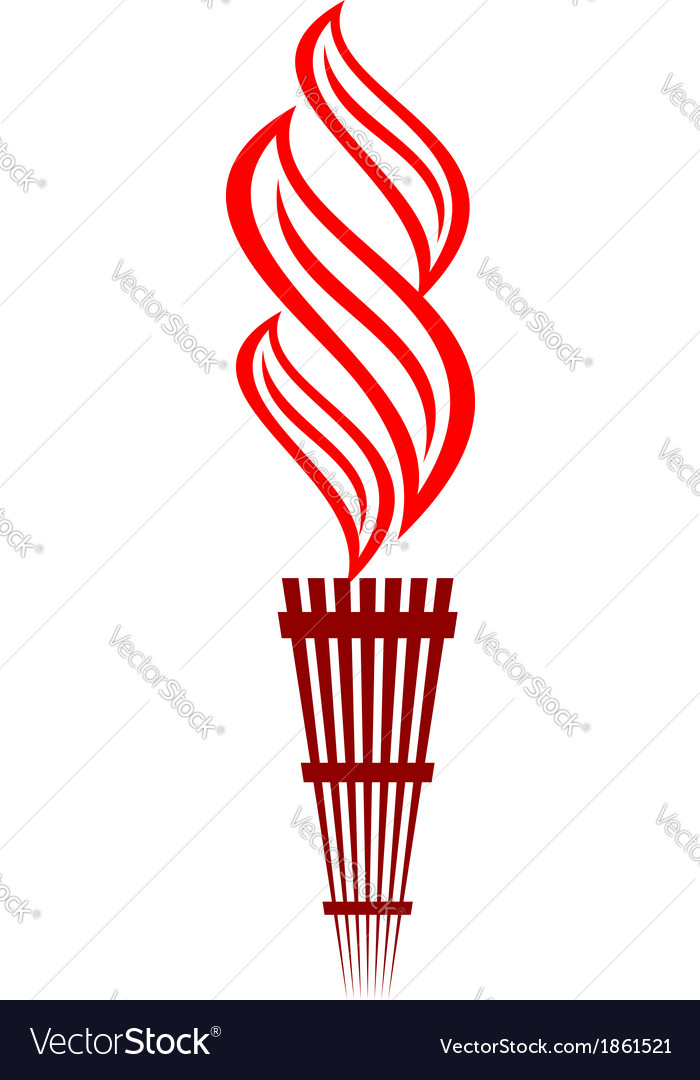 Stylized flaming torch vector image