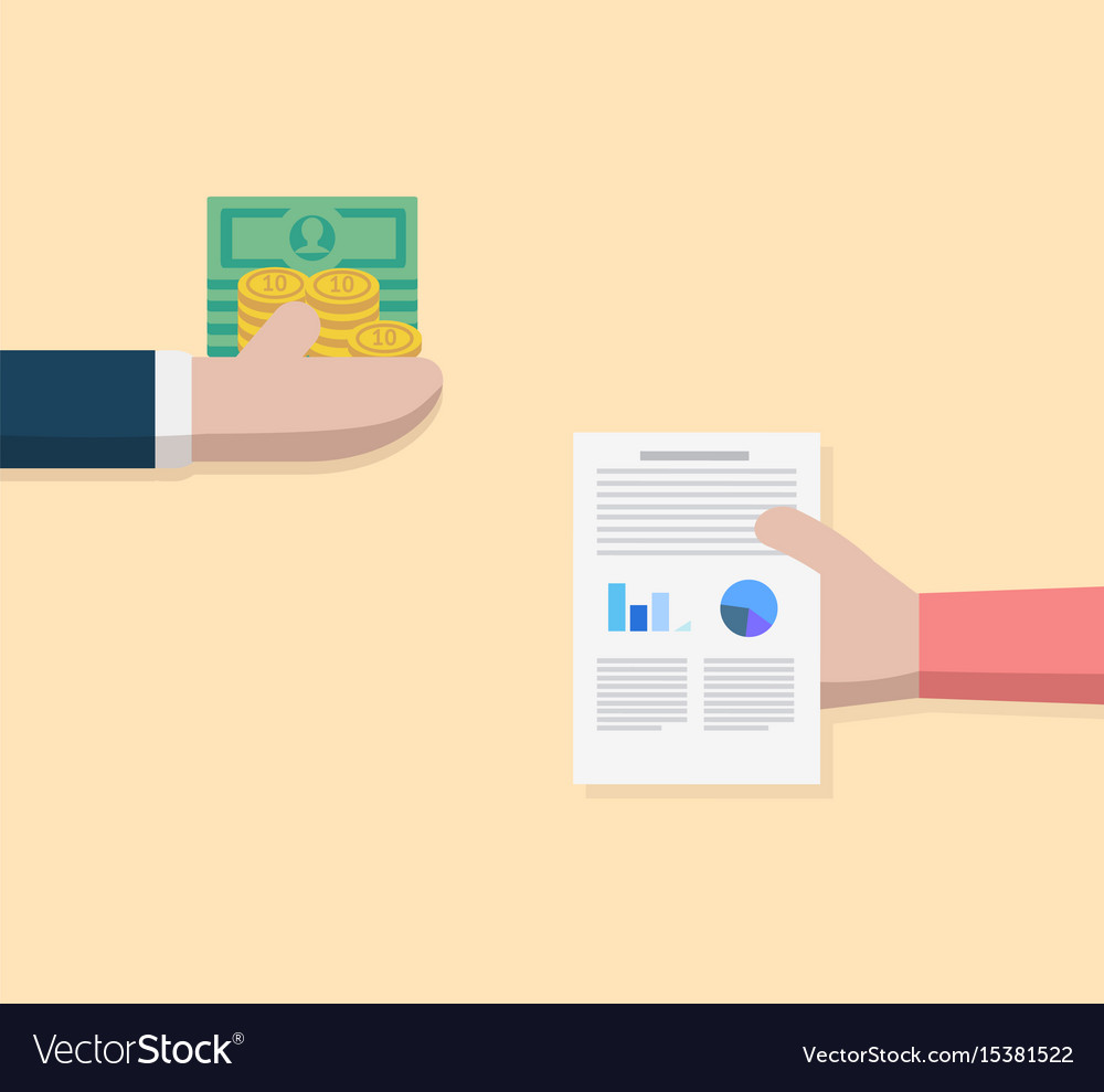 Business hand exchange money and person hand vector image