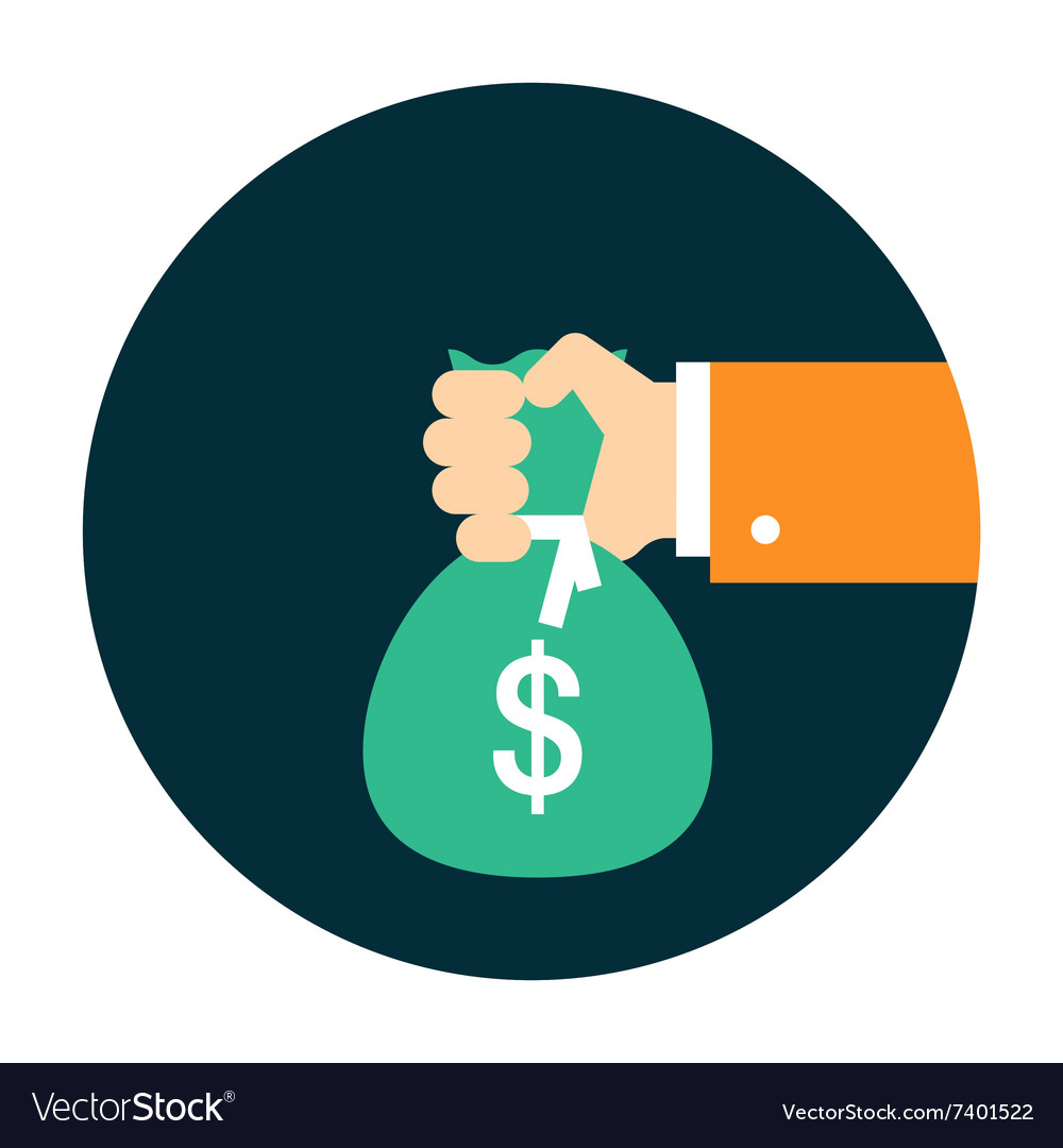 Hand with bag of money vector image