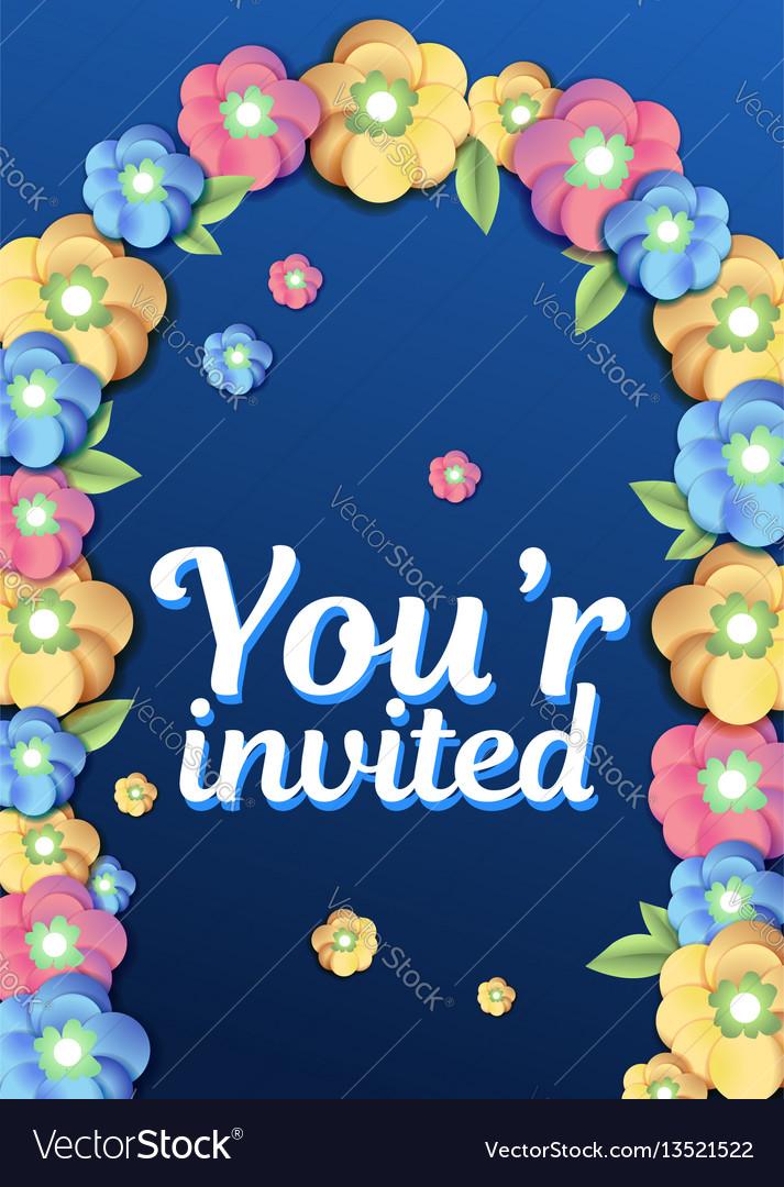 Wedding arc door with flowers vector image