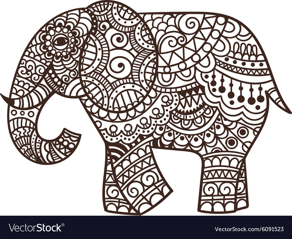 Decorative elephant Royalty Free Vector Image - VectorStock