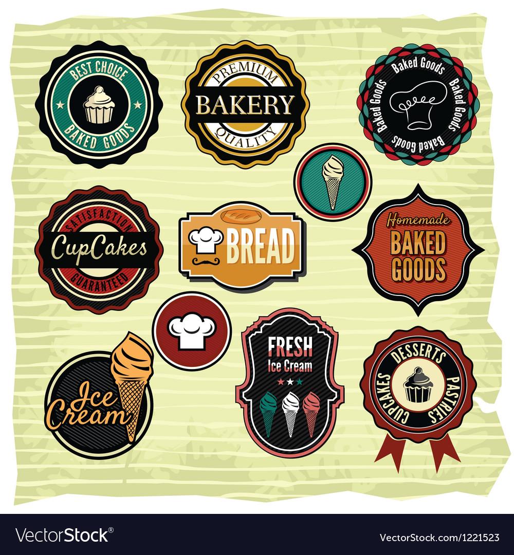 Retro grunge food labels badges vector image