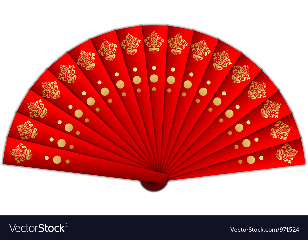 Red fan vector image