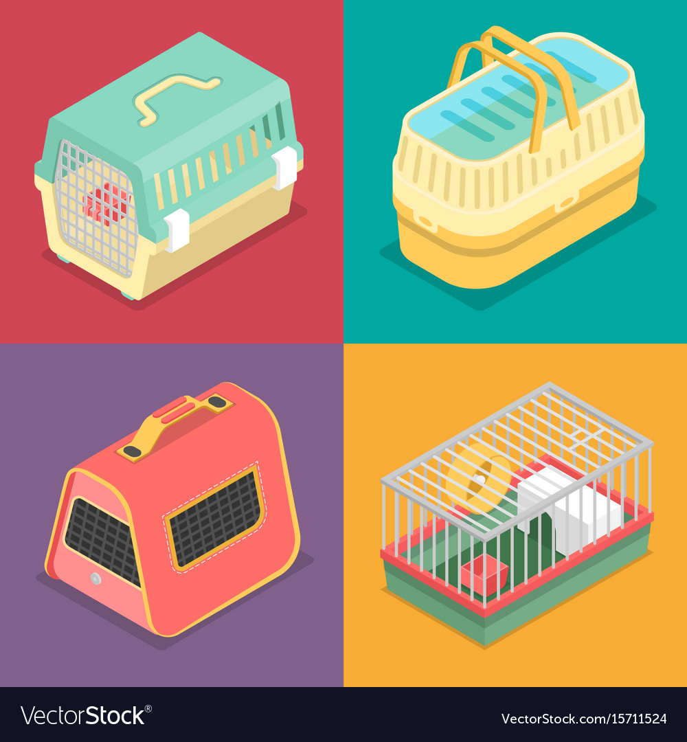Isometric pet carriers with portable house vector image